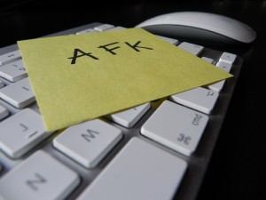 AFK note on computer keyboard